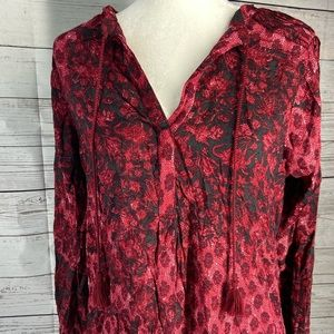 Lucky Brand split neck red black floral print top